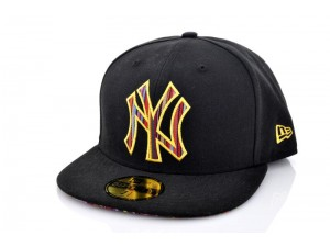 New York Yankees Stripe O Fill Black/AGold